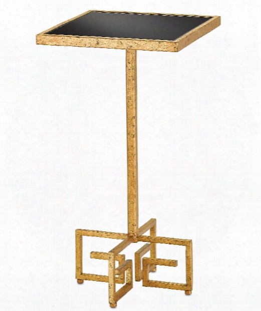 """Chloe 14"""" Accent Table In Gold Leaf-black"""