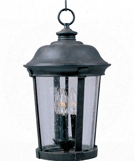 "Dover Vx 12"" 3 Light Outdoor Outdoor Hanging Lantern In Bronze"