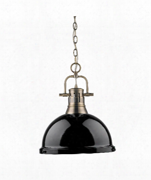 "Duncan 14"" 1 Light Large Pendant In Aged Brass"