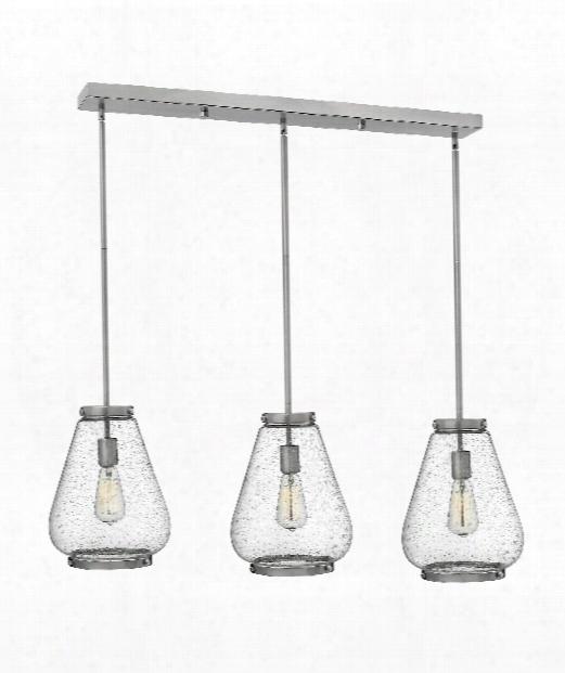 """Finley 40"""" 3 Light Multi Pendant Light In Brushed Nickel"""