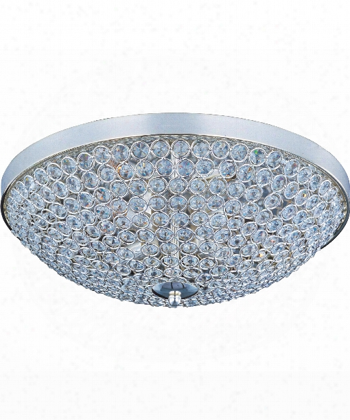 "Glimmer 15"" 4 Light Flush Mount In Plated Silver"