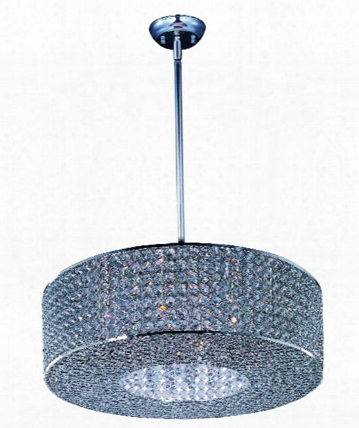 "Glimmer 22"" 10 Light Large Pendant In Plated Silver"