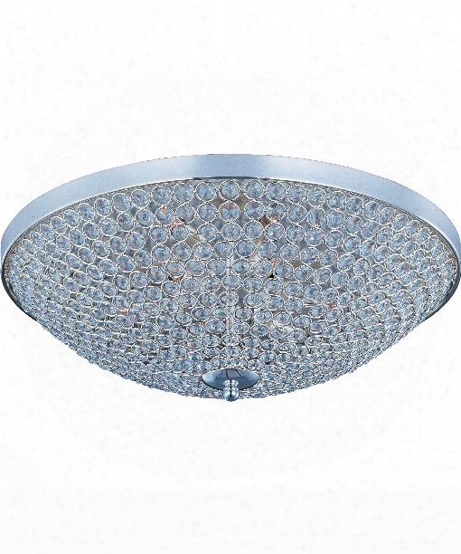 "Glimmer 22"" 9 Light Flush Mount In Plated Silver"