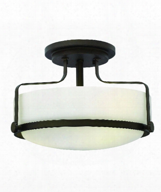 "Harper 15"" Led 2 Light Semi Flush Mount In Oil Rubbed Bronze"