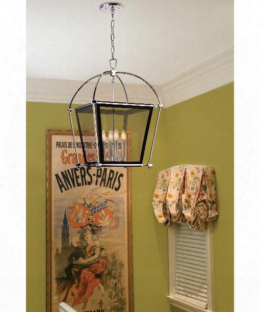"Hollis 13"" 4 Light Foyer Pendant In Polished Nickel"