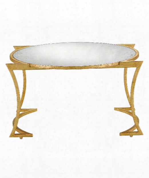 "Lenox 32"" Coffee Table In Grecian Gold Leaf-antique Mirror"