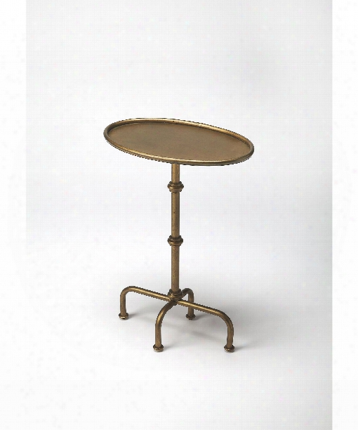 "Metalworks 20"" Accent Table In Antique Gold"