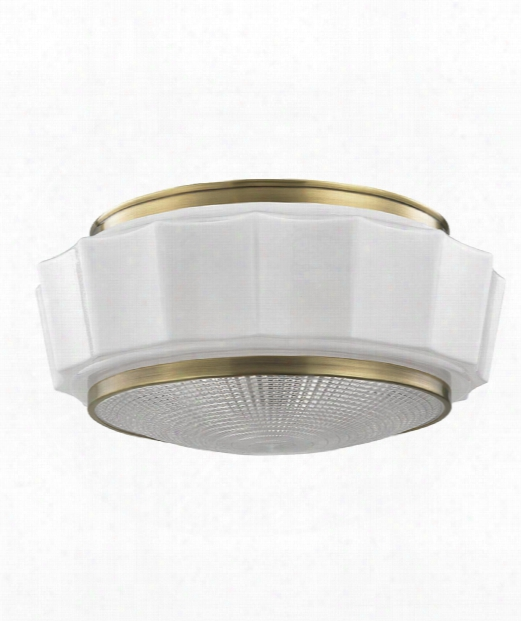 Odessa 3 Light Flush Mount In Aged Brass