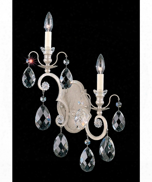 "Renaissance 14"" 2 Light Wall Sconce In Antique Silver"