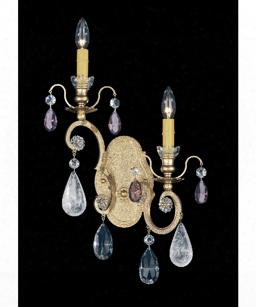 "Renaissance Rock Crystal 14"" 2 Light Wall Sconce In Heirloom Gold"