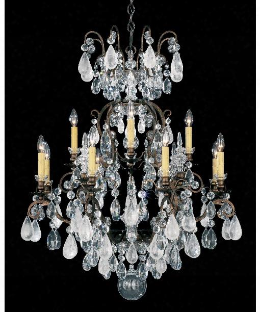 """Renaissance Rock Crystal 32"""" 12 Light Chandelier In Heirloom Bronze"""