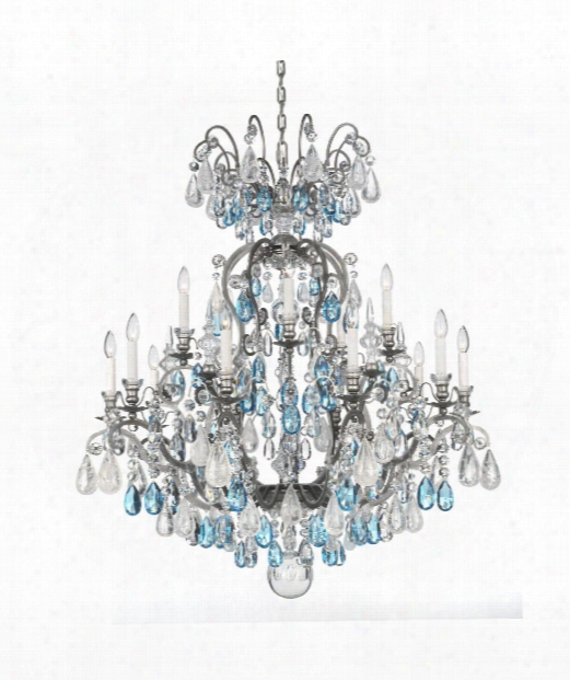 "Renaissance Rock Crystal 38"" 15 Light Chandelier In Antique Pewter"