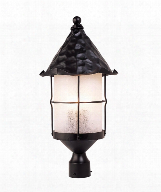 "Rustica 12"" 3 Light Outdoor Outdoor Post Lamp In Matte Black"