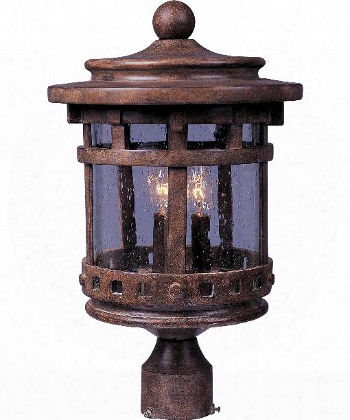 """Santa Barbara Vx 9"""" 3 Light Outdoor Outdoor Post Lamp In Sienna"""