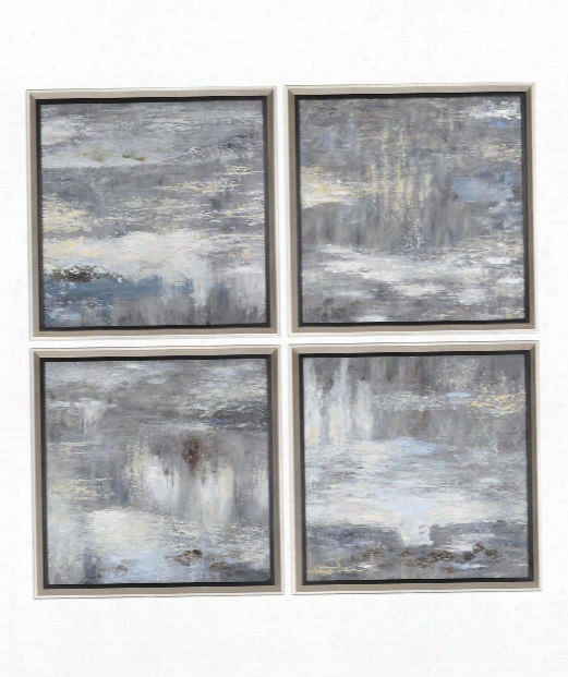 "Shades Of Gray 33"" Painting In Antique Silver Leaf Satin-black"