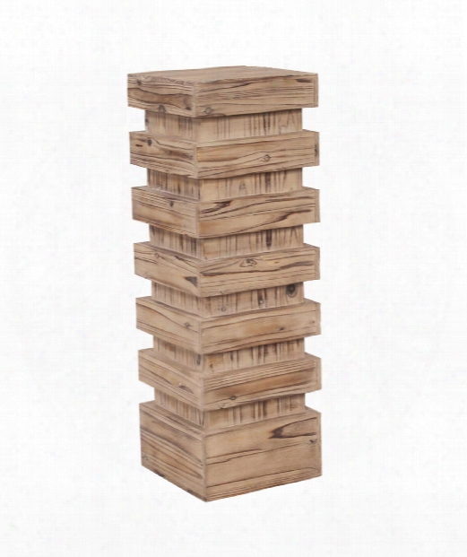 """Stepped 12"""" Pedestal In Natural Wood"""