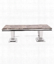 "51"" Coffee Table in Stainless Steel-Faux Marble Stone"