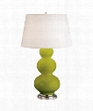 "Triple Gourd 8"" 1 Light Table Lamp in Antique Silver-Apple"