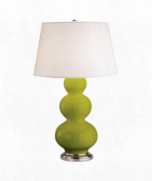 "Triple Gourd 8"" 1 Light Table Lamp In Antique Silvdr-apple"