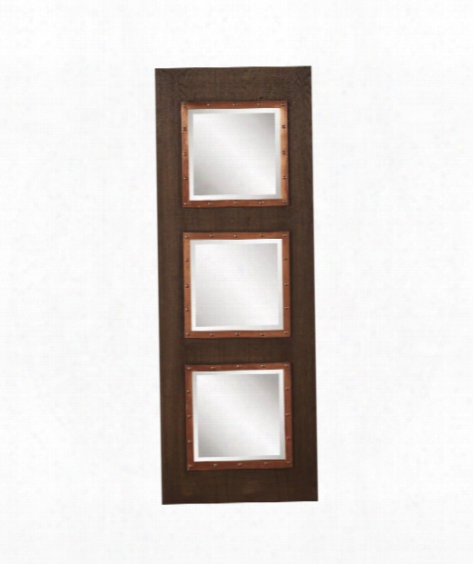 "Zane 19"" Floor Mirror In Walnut Stain-copper"