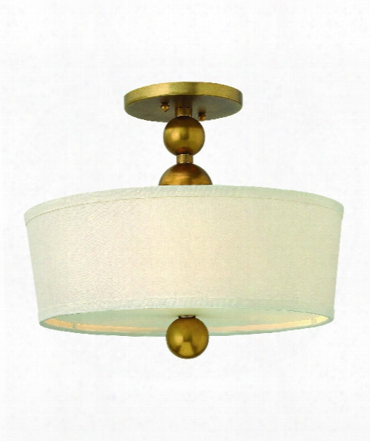 "Zelda 15"" 3 Light Semi Flush Mount In Vintage Brass"