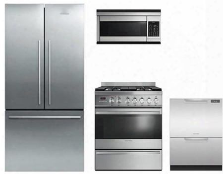 """4-piece Stainless Steel Kitchen Package With Rf170adx4 36"""" Counter Depth French Door Refrigerator Or30sdpwgx1 30"""" Dual Fuel Freestanding Range Cmoh30ss 30"""