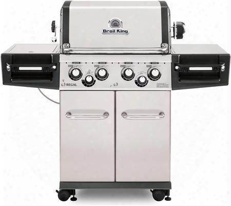 956347 Regal S490 Pro Natural Gas Grill With 4 Burners 50000 Btu Main Burner Output 500 Sq. In. Cooking Area 10000 Btu Side Burner And 15000 Btu Rotisserie