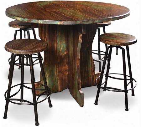 Cabo Collection Hh-8014-048-5pc 5 Piece Round Pub Set With Table + 4 Bar