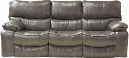 "Camden Collection 64081-1152-78/1252-78/1152-08 90"" Power Lay Flat Reclining Sofa With Black Welt Stitching Faux Leather Upholstery And Bucket Seat Design In"