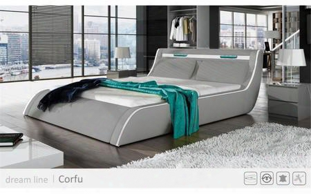 Corfu Collection Sf859klg King Size Bed With Lift Storage Tall Wide Tufted Headrest And Leatherette In Light