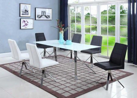 Dana Collection Dana-7pc 7 Pc Dining Room Set With Dining Table + 6 Side Chairs (2 Black 2 White 2