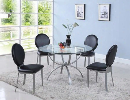 Francis Collection Francis-5pc 5 Pc Dining Room Set With Dining Table + 4 Side Chairs In Silver
