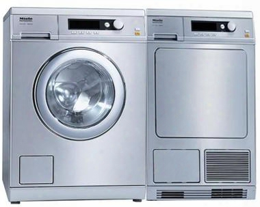 "Front Load Little Giant Series Laundry Pair With Pw6065ss 24"" Washer And Pt7135css 24"" Dryer In Stainless"