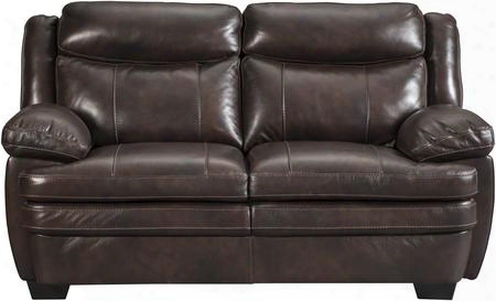 "Hannalore Collection 1530435 67"" Loveseat With Buttery Soft Cushions Spli Tback Design Jumbo Stitching Pillow Top Arms And Leather Upholstery In Cafe"