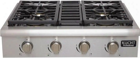 Krt3003ulp Professional Series Gas Rangetop With 4 Sealed Burners Black Porcelain Top Heavy Duty Cast-iron Grates And High Quality Control Knobs In
