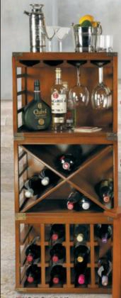Mf21012 3-piece Wine Rack With Bottom Bottle Rack Bookcase Bottle Rack And Glass Unit In Honey Distressed French