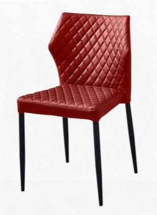 Milodcre4pk Milo 4-pack Dining Chairs In Red Diamond Tufted Leatherette With Black Powder Coat Legs By Diamond