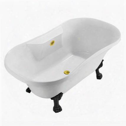 "N100blgld 60"" Streamline N100bl-gld Soaking Clawfoot Tub With External"