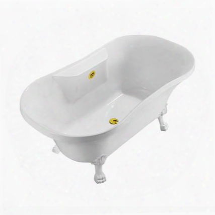 "N100whgld 60"" Streamline N100wh-gld Soaking Clawfoot Tub With External"