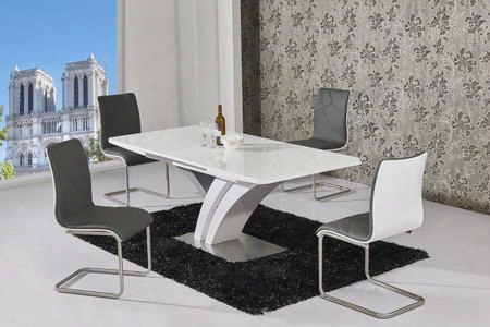 Natalie Collection Natalie-5pc Dining Room Set With Dining Table + 4 Side Chairs In White