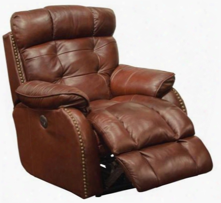 """Patterson Collection 64773-7-1283-19/3083-19 37"""" Power Lay Flat Recliner With Brass Nailhead Accents Lay-flat Reclining X-tra Comfot Footrest And Top Grain"""