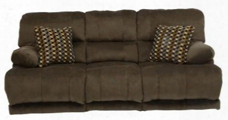 "Riley Collection 61221-1870-09/2752-49 88"" Power Reclining Sofa With Two Espresso Throw Pillows Micro-denier Fabric Upholstery And Split Back In"