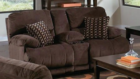 "Riley Collection 61229-1870-09/2752-49 79"" Power Reclining Console Loveseat With Two Espresso Throw Pillows Micro-denier Fabric Upholstery And Two Cup Holders"