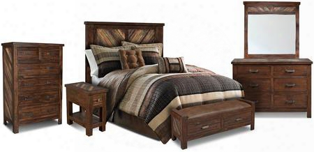 Riviera Collection Hh-4280-6pc 6 Pc Bedroom Set With Bed + Dresser + Mirror + Chest + End Table + Console In Walnut