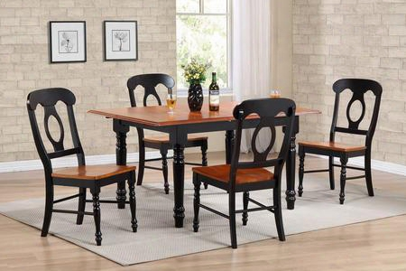 Sunset Selections Collection Dlu-tlb3660-c50-bch5pc 5 Piece Butterfly Leaf Dining Table Set With Rectangular Table + 4 Napoleon