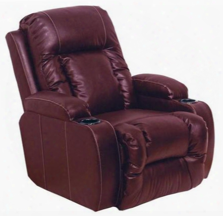"Top Gun Collection 6420-1203-14/3003-14 37"" Power Media Chaise ""inch-away"" Recliner With Cupholders Dramatic Contrast Stitching Plush Padded Arms And"