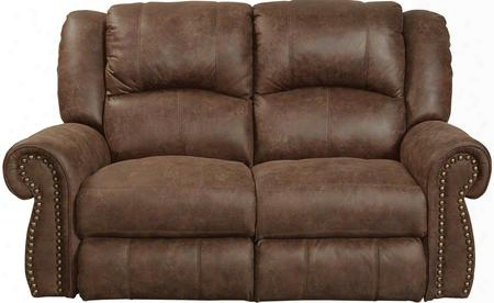 "Westin Collection 1052-2-1304-59/3304-59 66"" Rocking Reclining Loveseat With Faux Leather Upholstery Rolled Arms And Decorative Nailhead In"