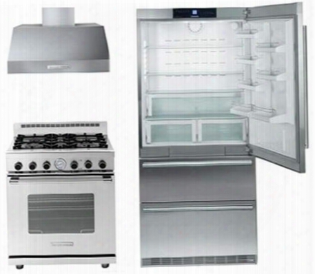 "3 Piece Kitchen Package With Cs2060 36"" Bottom Freezer Refrigerator Rn301gcss 30"" Aeriform Fluid Freestanding Range And Hp301bss 30"" Range Hood In Stainless"