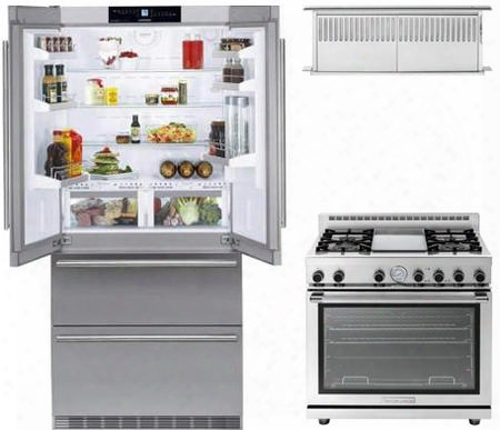 "3 Piece Kitchen Package With Cs2062 36"" French Door Refrigerator Rn362gpss 36"" Gas Freestanding Range And Scir3614ss 36"" Range Hood In Stainless"