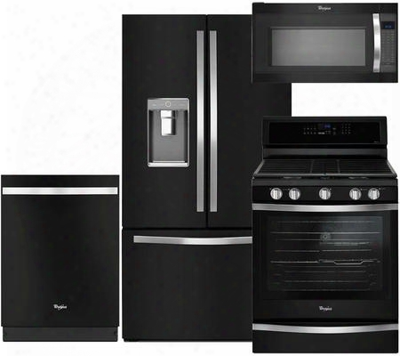 "4-piece Black Ice Kitchen Package With Wrf992fife 36"" French Door Refrigerator Wfg745h0fe 30"" Freestanding Gas Range Wdt720pade 24"" Fully Integrated"
